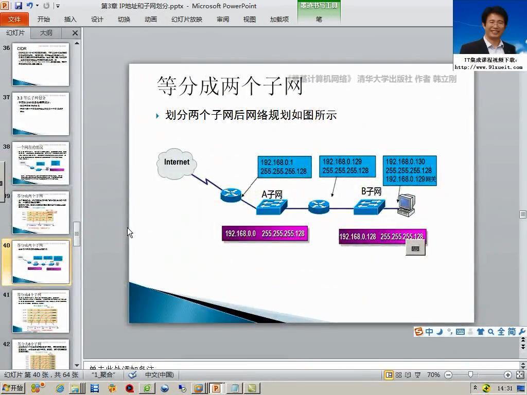 IP地址 将一个C类网络等分成两个子网